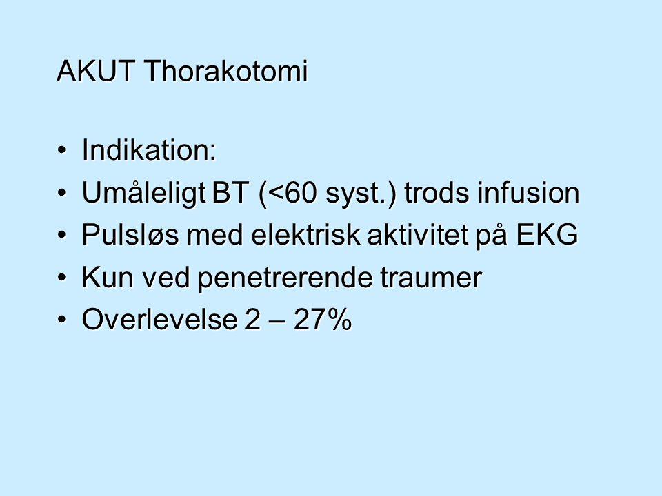 AKUT Thorakotomi Indikation: Umåleligt BT (<60 syst.) trods infusion. Pulsløs med elektrisk aktivitet på EKG.