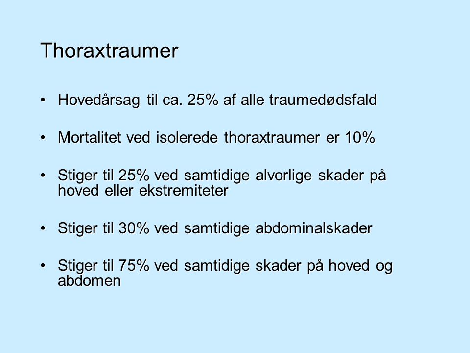 Thoraxtraumer Hovedårsag til ca. 25% af alle traumedødsfald