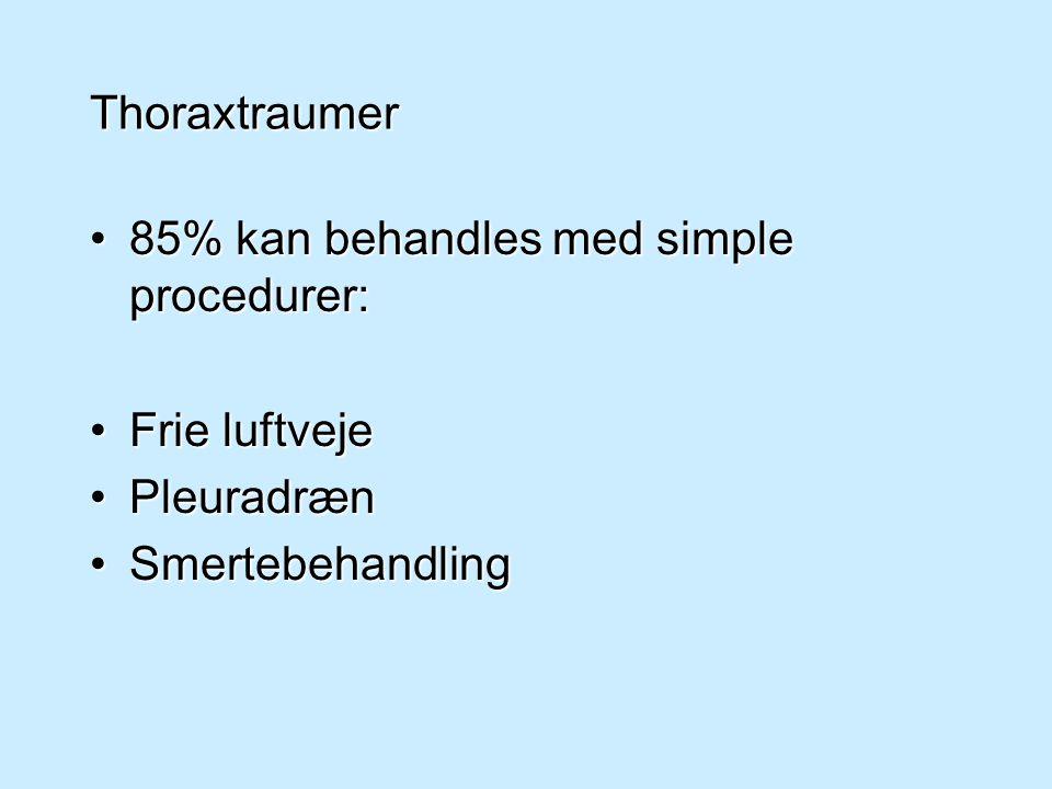 Thoraxtraumer 85% kan behandles med simple procedurer: Frie luftveje Pleuradræn Smertebehandling