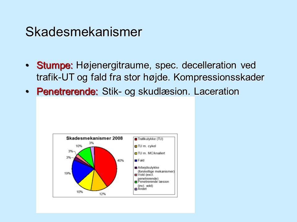 Skadesmekanismer Stumpe: Højenergitraume, spec. decelleration ved trafik-UT og fald fra stor højde. Kompressionsskader.