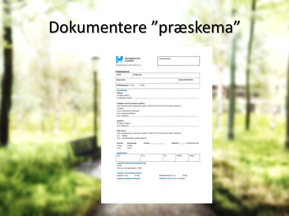 Dokumentere præskema