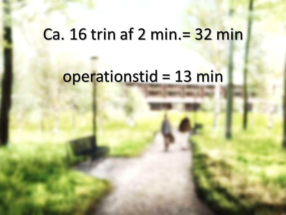 Ca. 16 trin af 2 min.= 32 min operationstid = 13 min