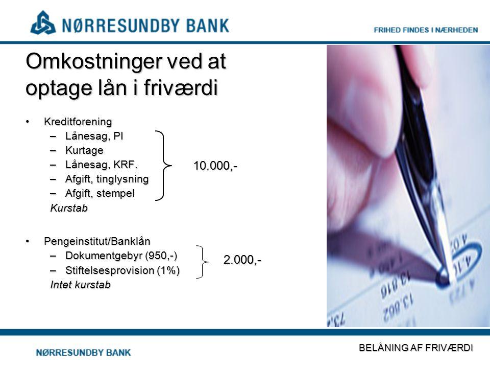 Omkostninger ved at optage lån i friværdi