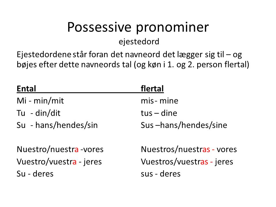 Possessive pronominer ejestedord