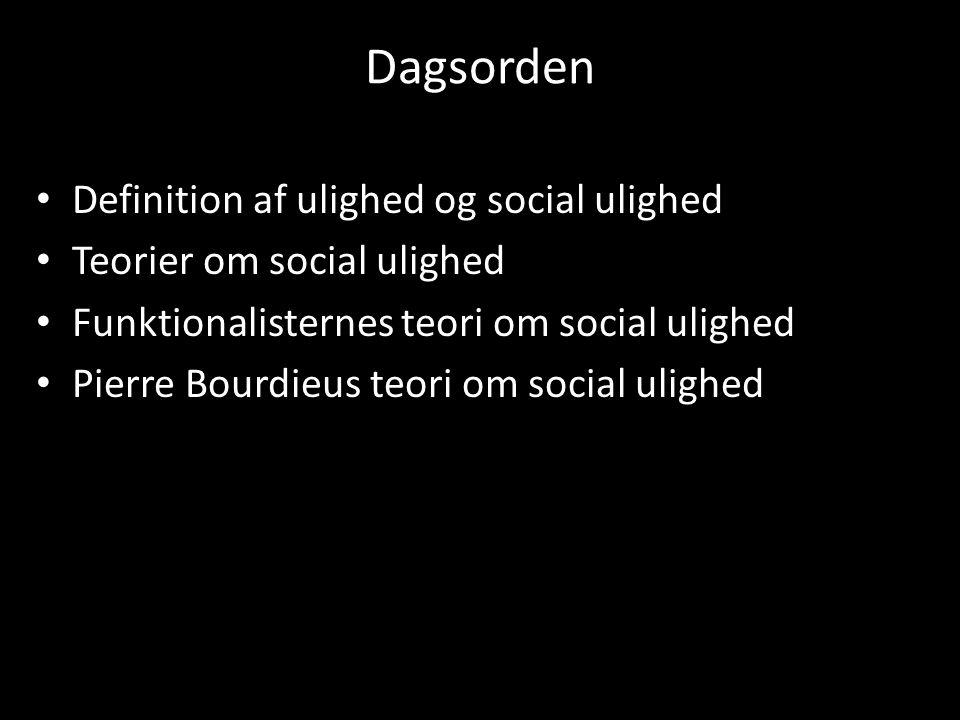 Dagsorden Definition af ulighed og social ulighed