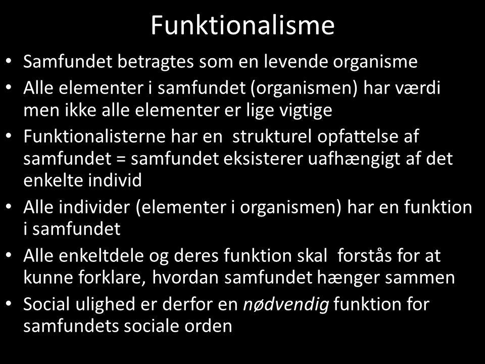 Funktionalisme Samfundet betragtes som en levende organisme
