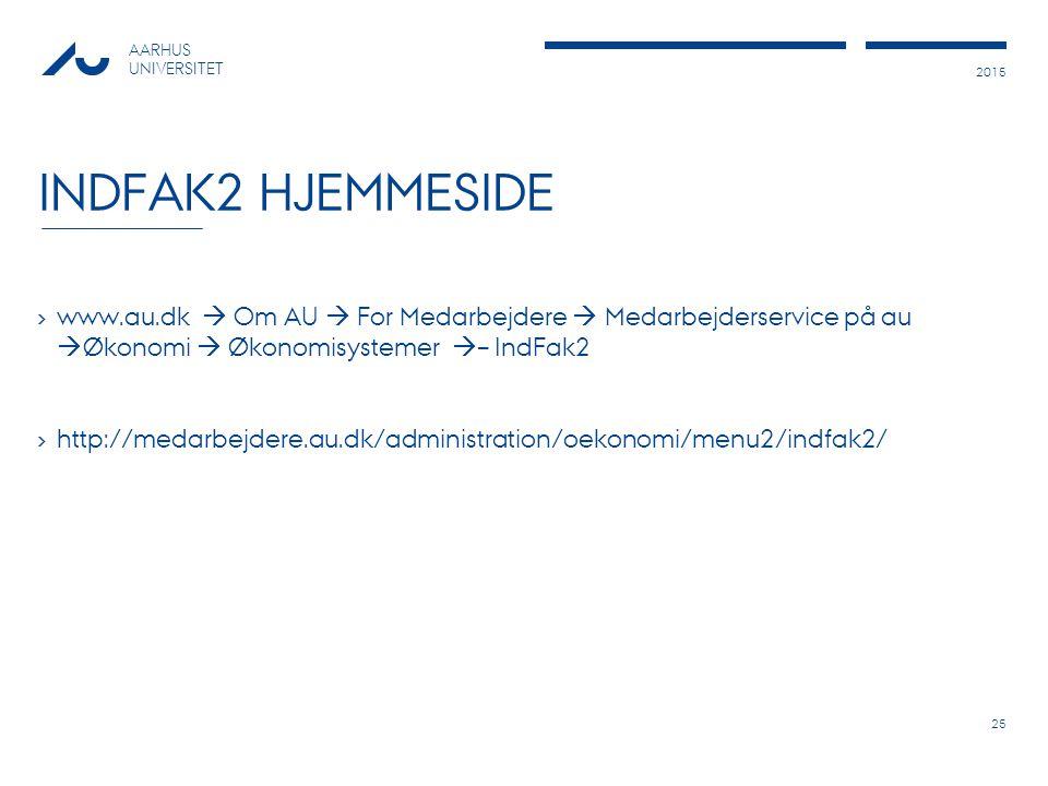 IndFak2 hjemmeside www.au.dk  Om AU  For Medarbejdere  Medarbejderservice på au Økonomi  Økonomisystemer – IndFak2.