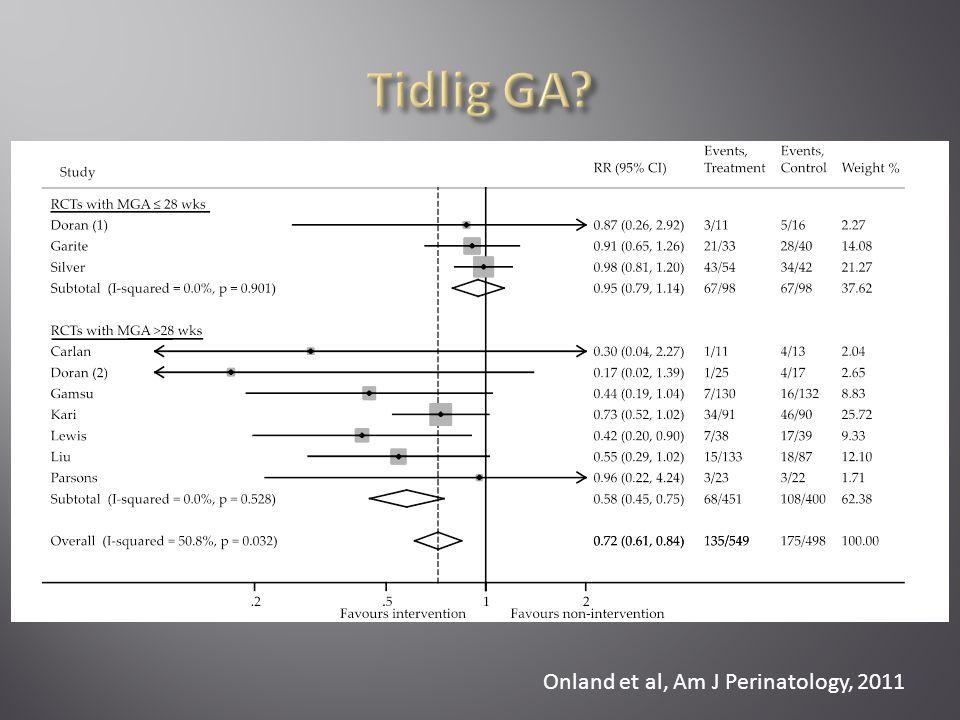 Tidlig GA Onland et al, Am J Perinatology, 2011