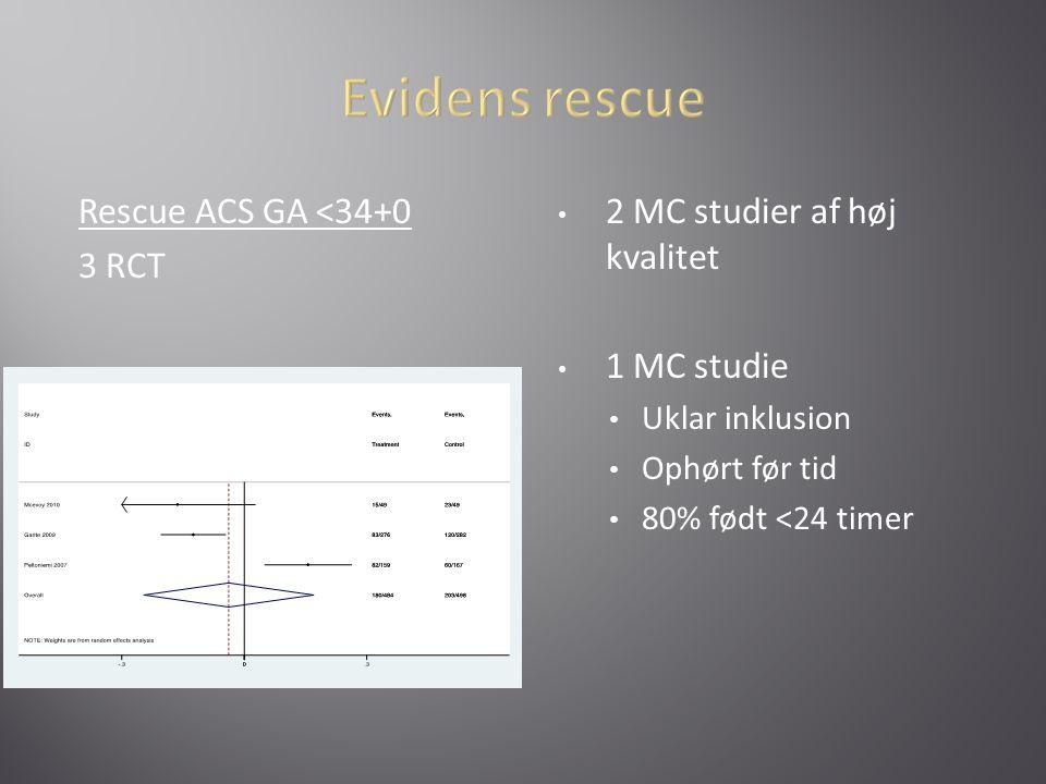 Evidens rescue Rescue ACS GA <34+0 3 RCT
