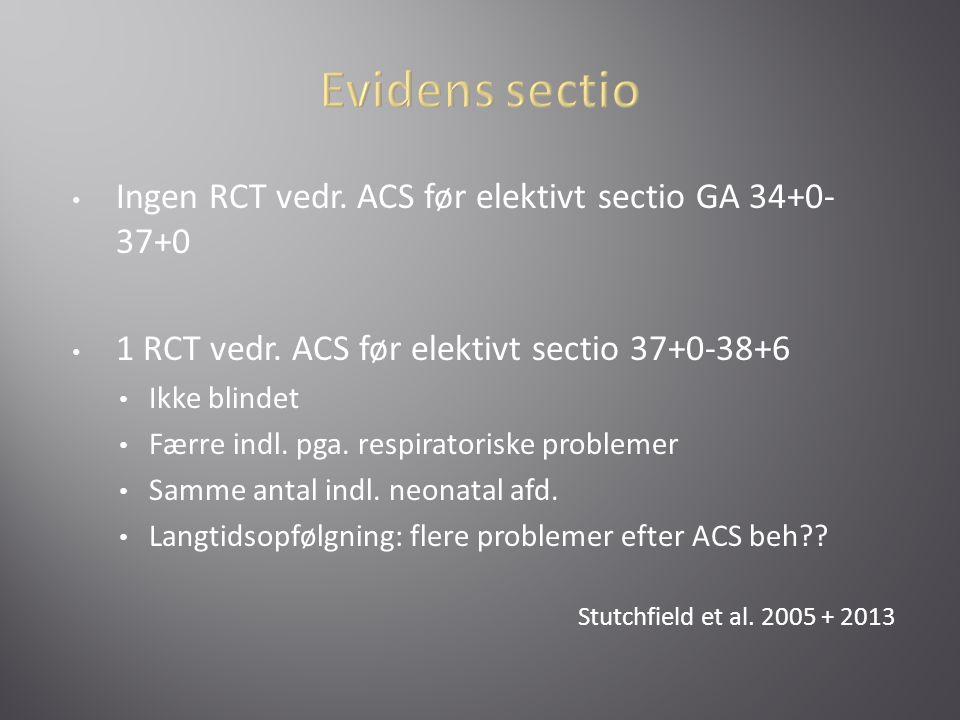 Evidens sectio Ingen RCT vedr. ACS før elektivt sectio GA 34+0-37+0