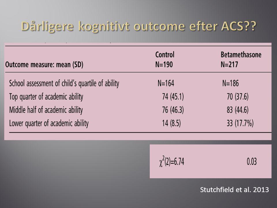Dårligere kognitivt outcome efter ACS