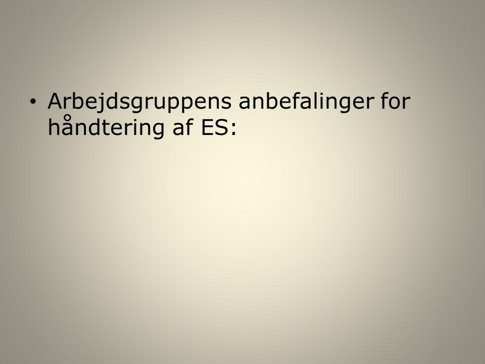 Arbejdsgruppens anbefalinger for håndtering af ES: