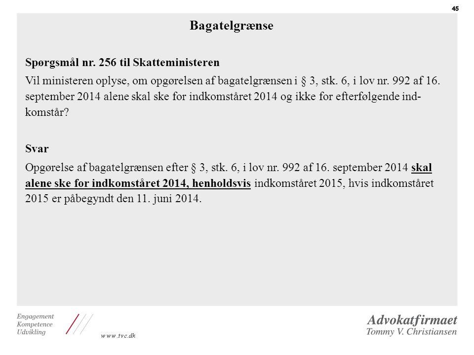 Bagatelgrænse Spørgsmål nr. 256 til Skatteministeren