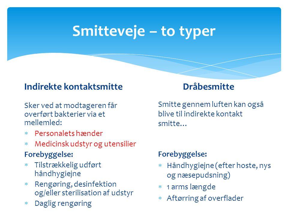Smitteveje – to typer Indirekte kontaktsmitte Dråbesmitte