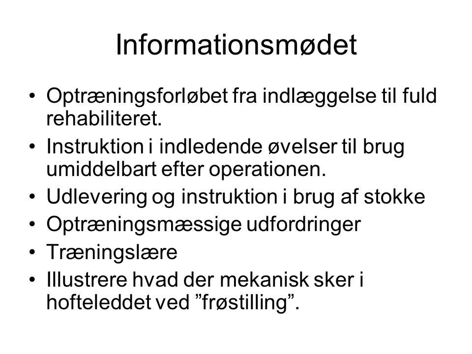 Informationsmødet Optræningsforløbet fra indlæggelse til fuld rehabiliteret.