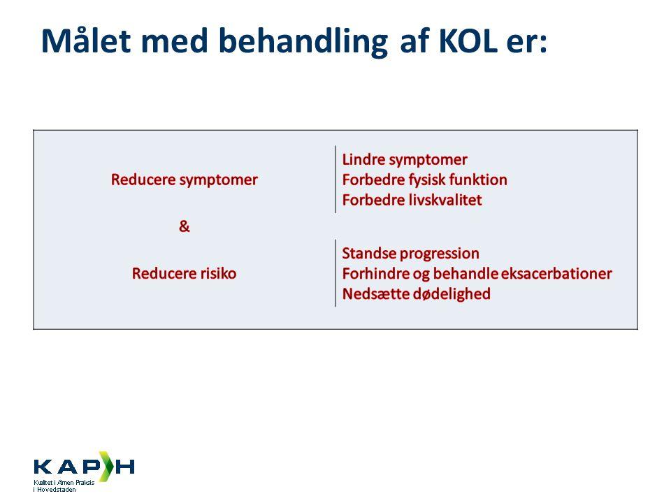 Målet med behandling af KOL er: