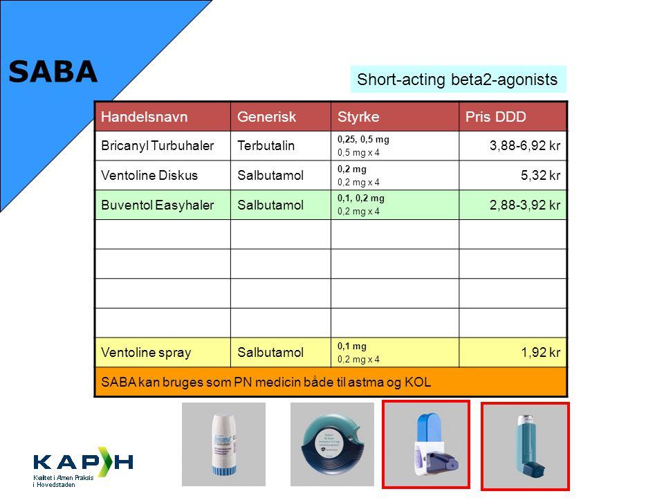 SABA Short-acting beta2-agonists Handelsnavn Generisk Styrke Pris DDD