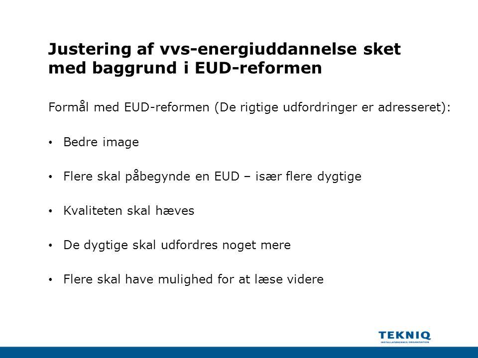Justering af vvs-energiuddannelse sket med baggrund i EUD-reformen