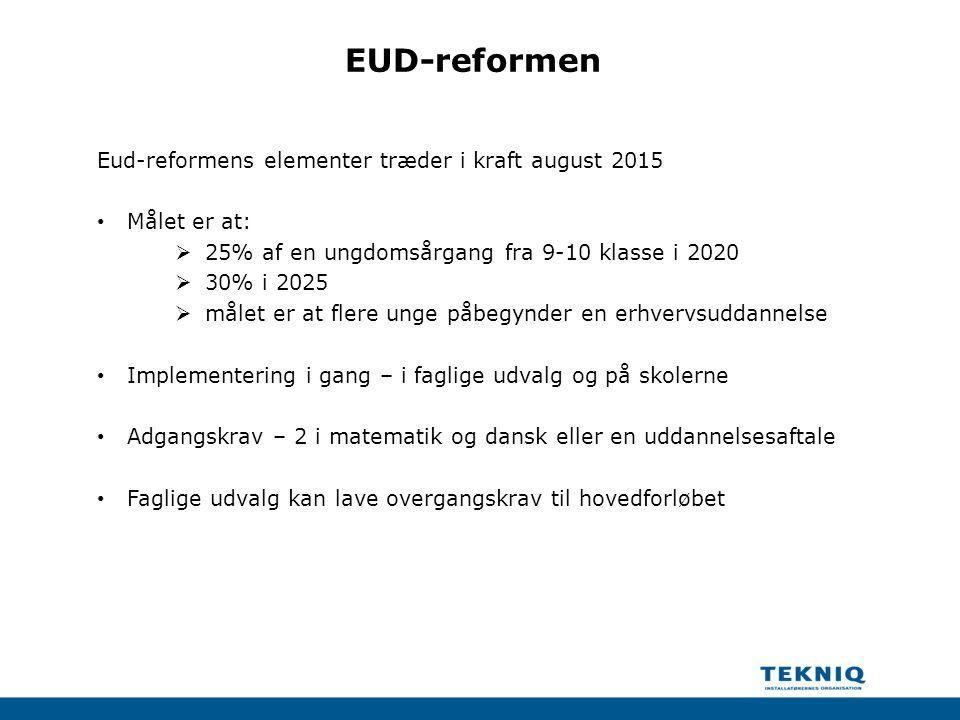 EUD-reformen Eud-reformens elementer træder i kraft august 2015