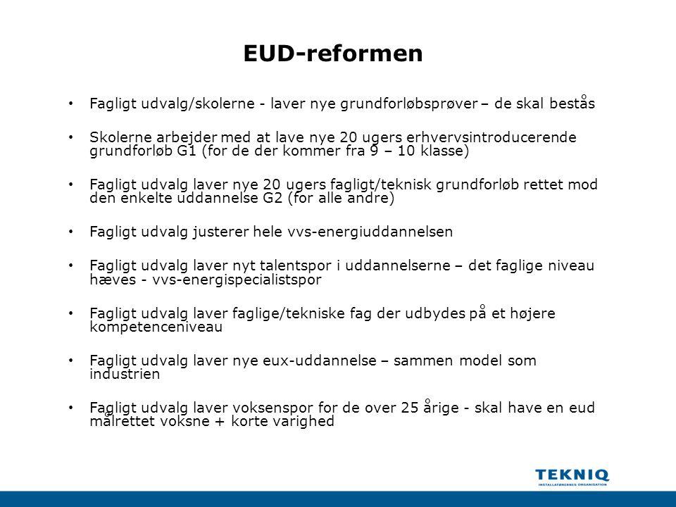 EUD-reformen Fagligt udvalg/skolerne - laver nye grundforløbsprøver – de skal bestås.
