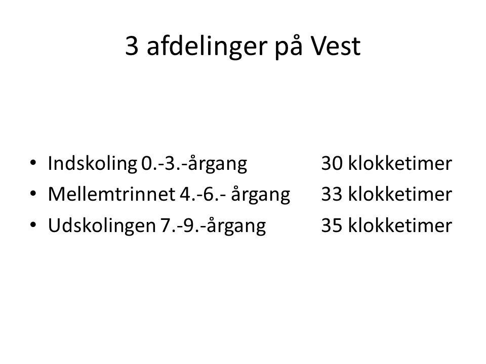 3 afdelinger på Vest Indskoling 0.-3.-årgang 30 klokketimer