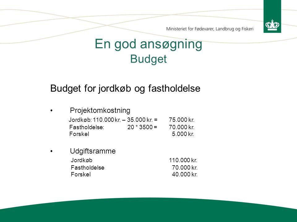 En god ansøgning Budget Budget for jordkøb og fastholdelse