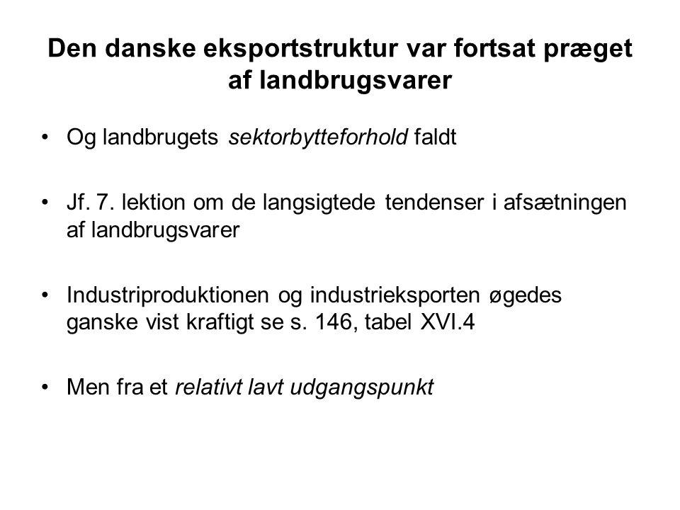 Den danske eksportstruktur var fortsat præget af landbrugsvarer