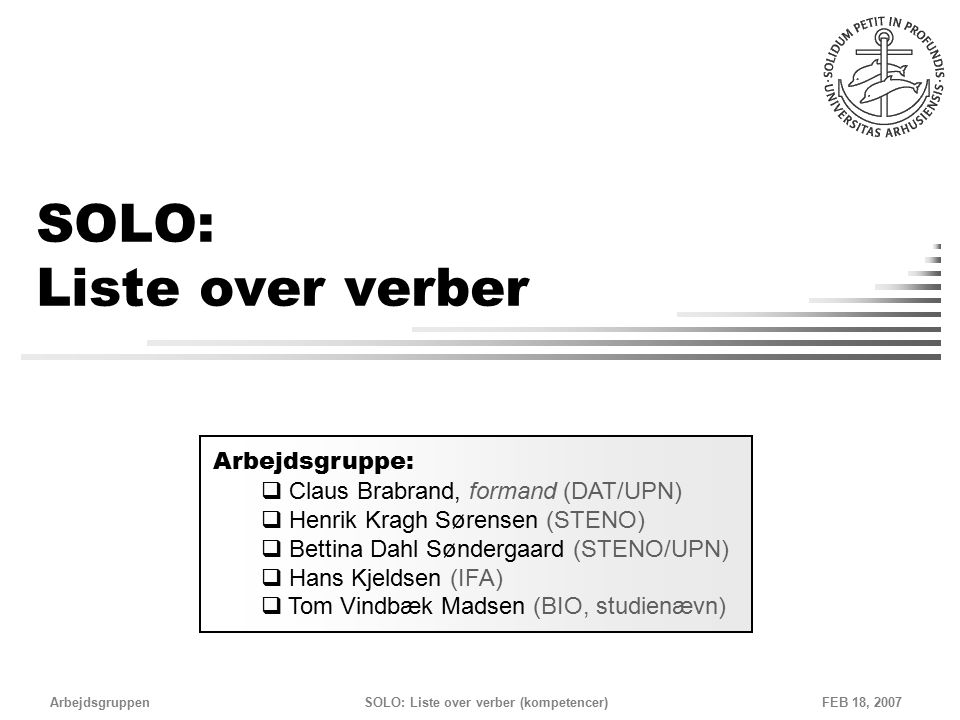 SOLO: Liste over verber