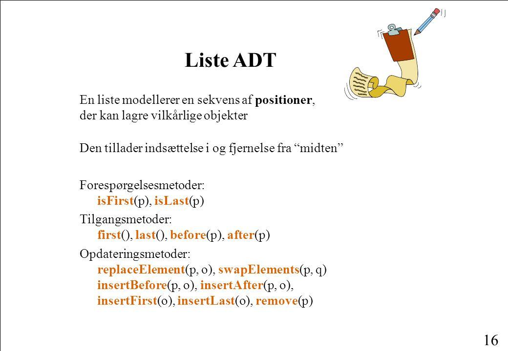 Liste ADT En liste modellerer en sekvens af positioner, der kan lagre vilkårlige objekter. Den tillader indsættelse i og fjernelse fra midten
