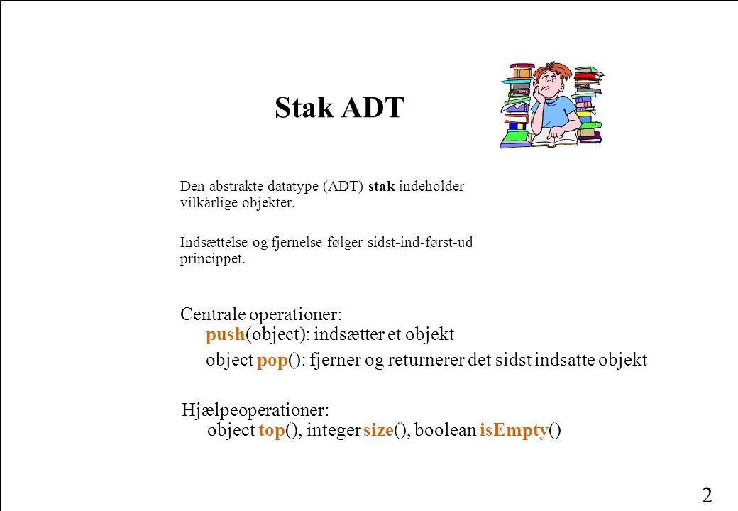 Stak ADT Centrale operationer: push(object): indsætter et objekt