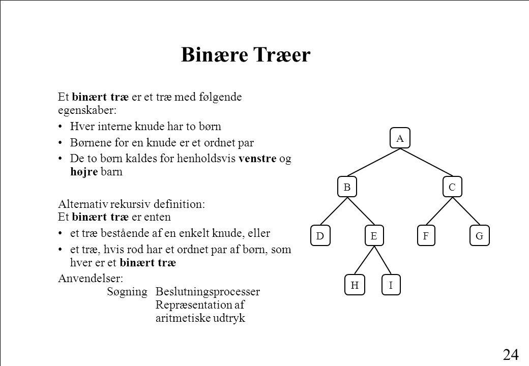 Binære Træer Et binært træ er et træ med følgende egenskaber: