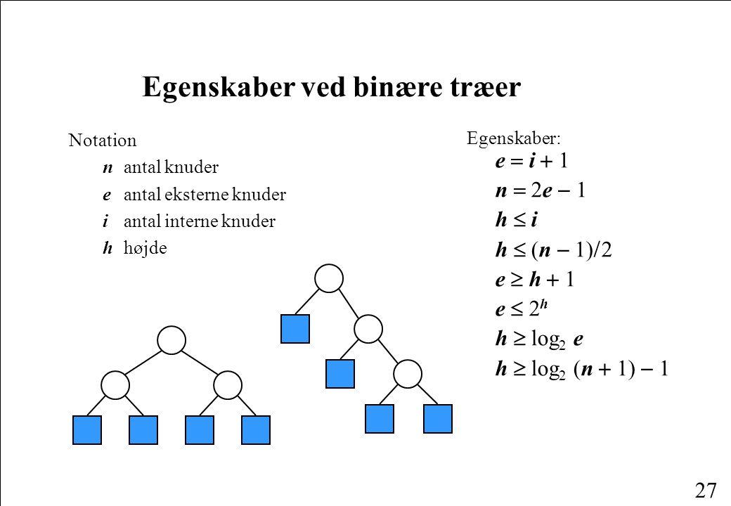 Egenskaber ved binære træer