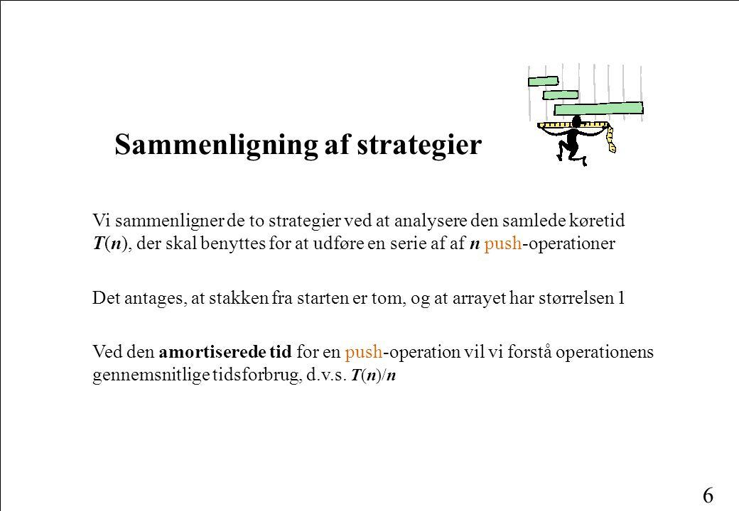 Sammenligning af strategier