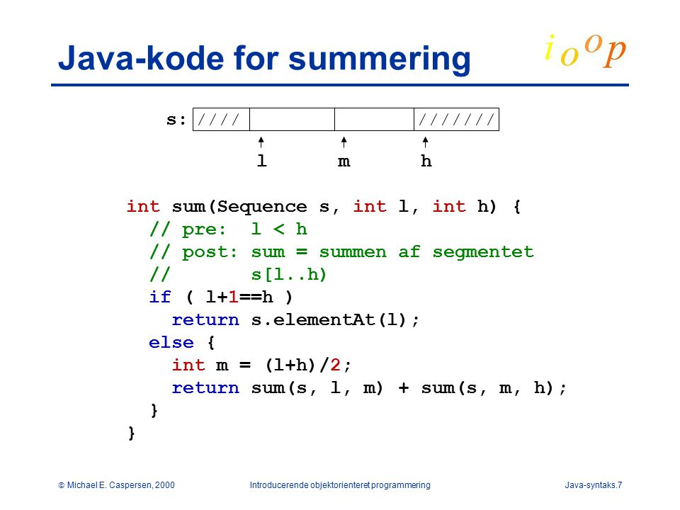 Java-kode for summering