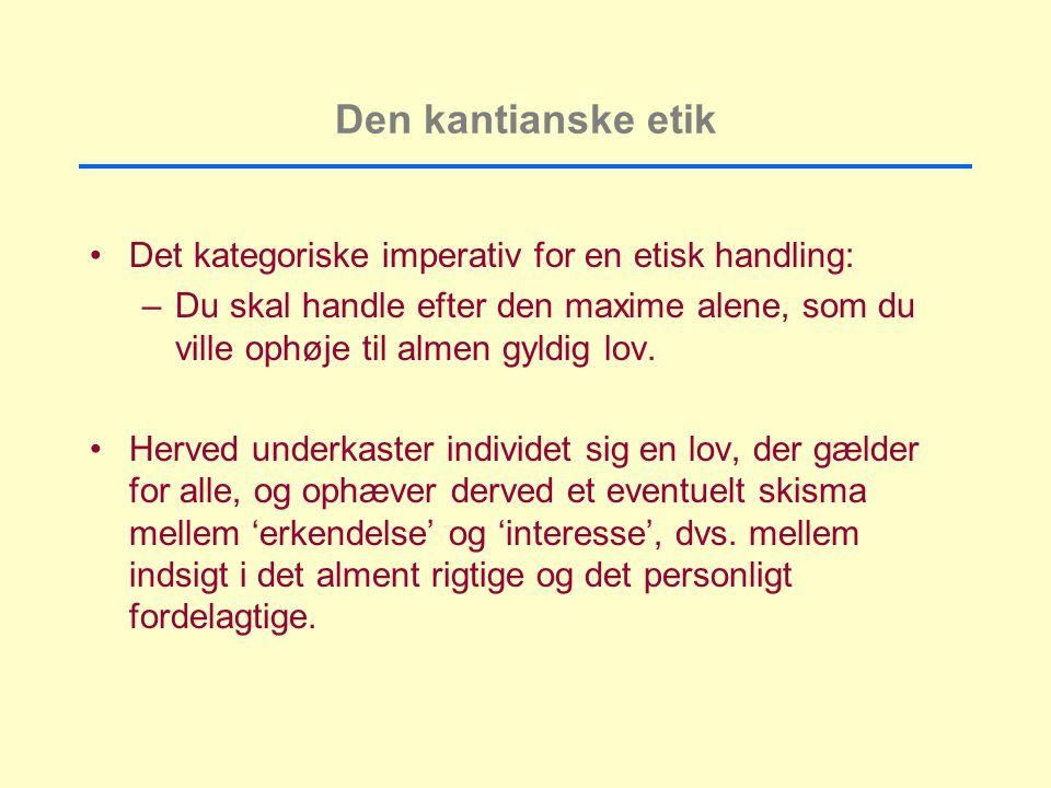 Den kantianske etik Det kategoriske imperativ for en etisk handling: