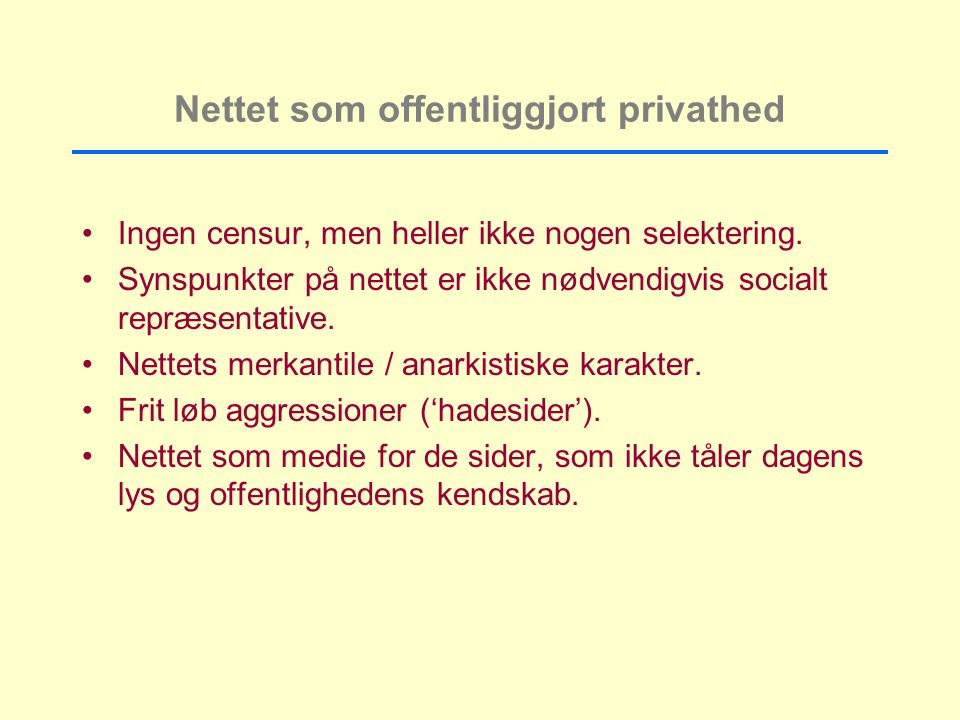 Nettet som offentliggjort privathed