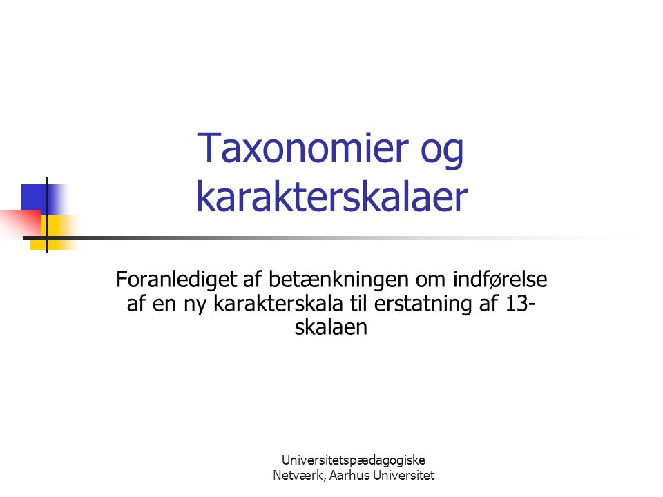 Taxonomier og karakterskalaer