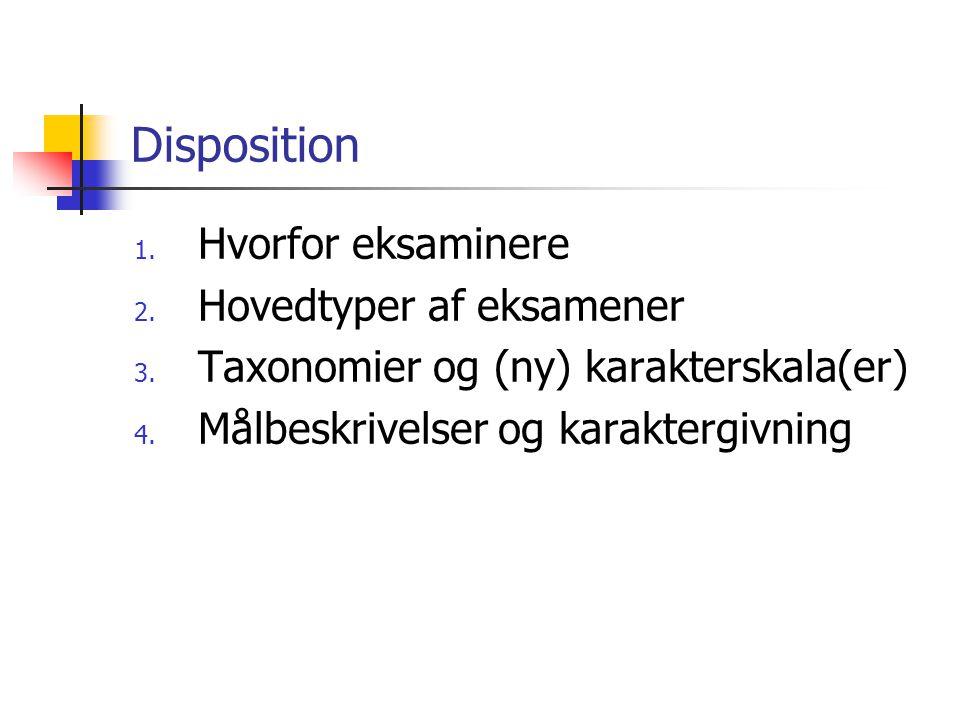 Disposition Hvorfor eksaminere Hovedtyper af eksamener