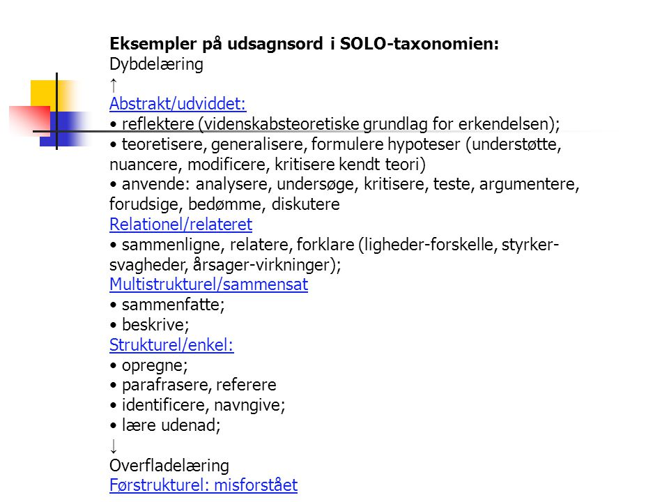 Eksempler på udsagnsord i SOLO-taxonomien: