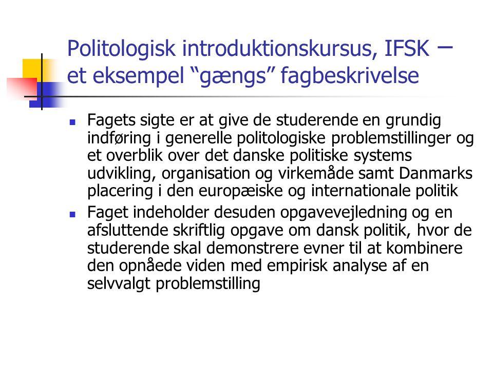 Politologisk introduktionskursus, IFSK – et eksempel gængs fagbeskrivelse
