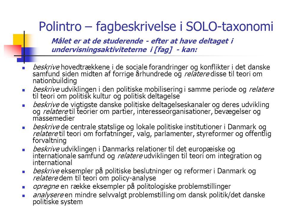 Polintro – fagbeskrivelse i SOLO-taxonomi