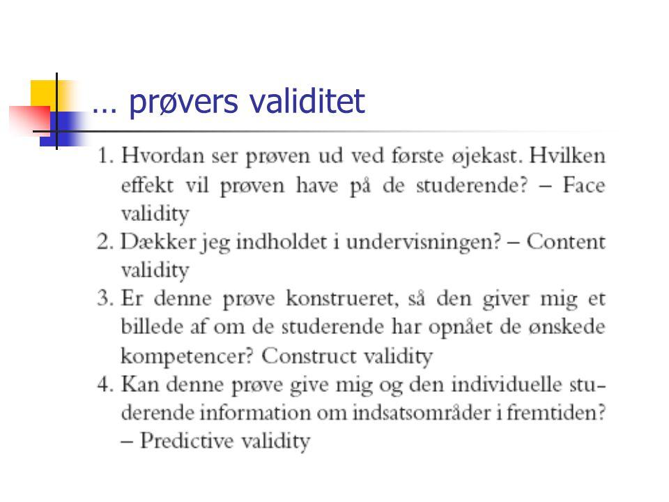 … prøvers validitet