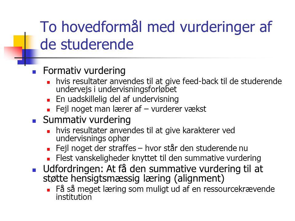 To hovedformål med vurderinger af de studerende