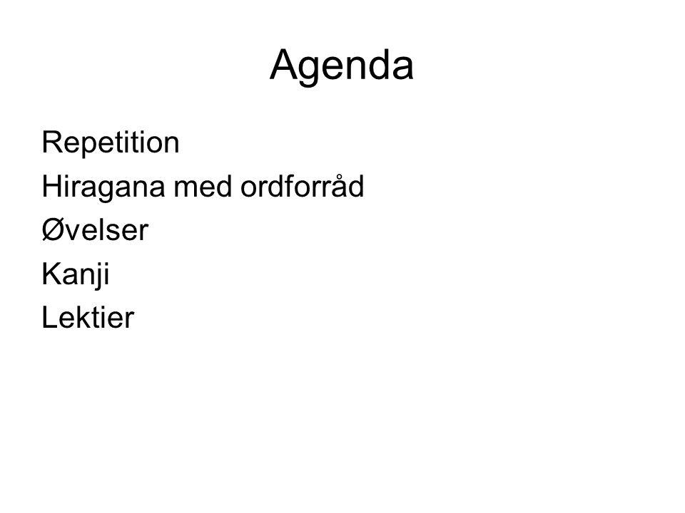 Agenda Repetition Hiragana med ordforråd Øvelser Kanji Lektier