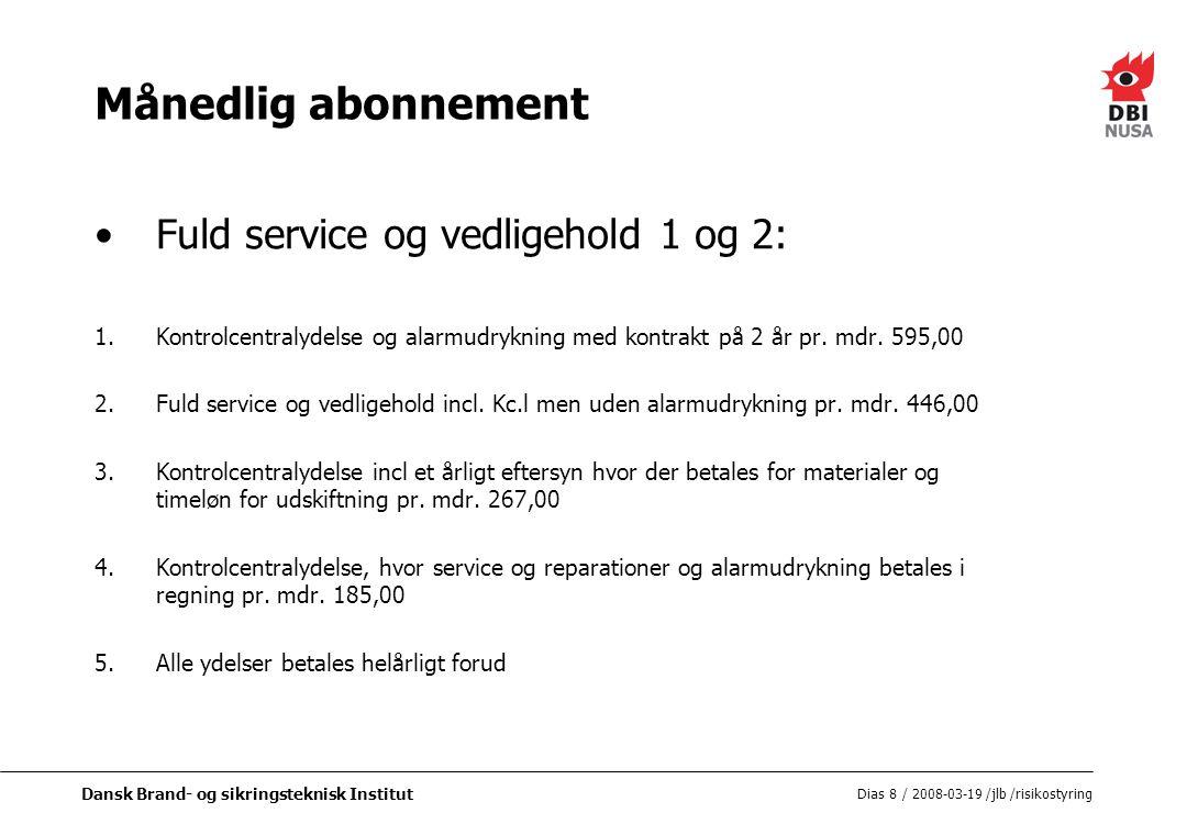 Månedlig abonnement Fuld service og vedligehold 1 og 2: