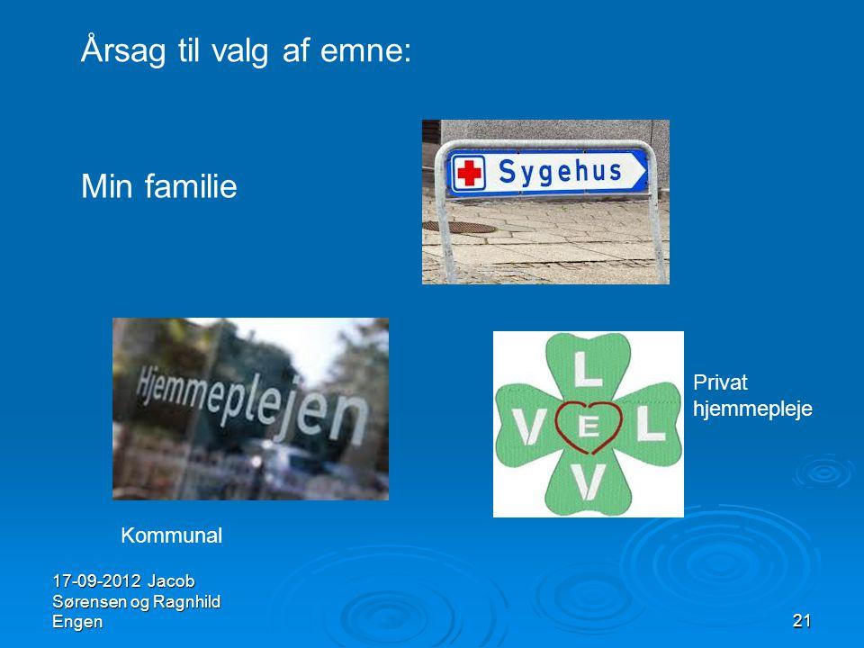 Årsag til valg af emne: Min familie Privat hjemmepleje Kommunal