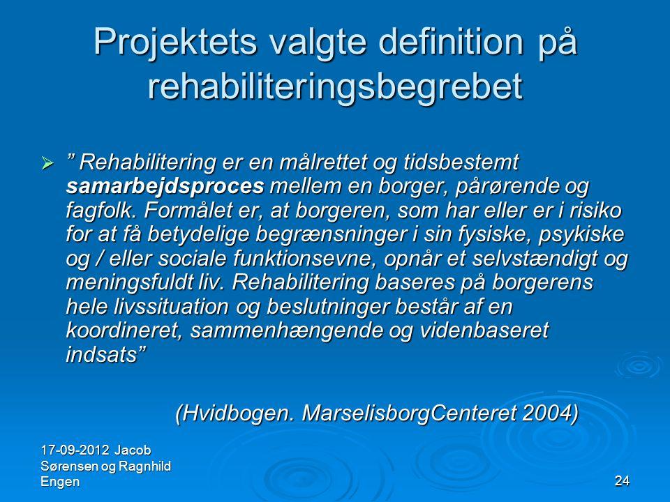 Projektets valgte definition på rehabiliteringsbegrebet