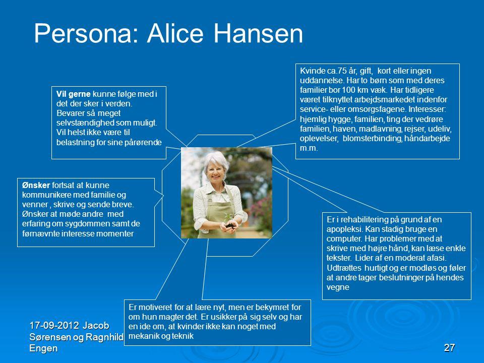 Persona: Alice Hansen 17-09-2012 Jacob Sørensen og Ragnhild Engen