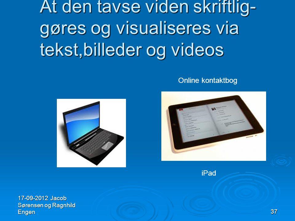 At den tavse viden skriftlig- gøres og visualiseres via tekst,billeder og videos