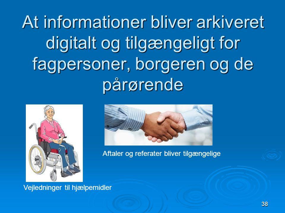 At informationer bliver arkiveret digitalt og tilgængeligt for fagpersoner, borgeren og de pårørende